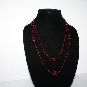 Beautiful red beaded necklace 48""